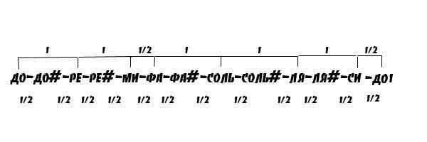 Октава хроматического звукоряда.Цифрами 1 и 1/2 обозначены интервалы в тон и полутон соответственно.